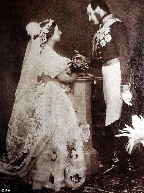 Queen Victoria and Prince Albert. They married in 1840. This photo was taken in May 1854.