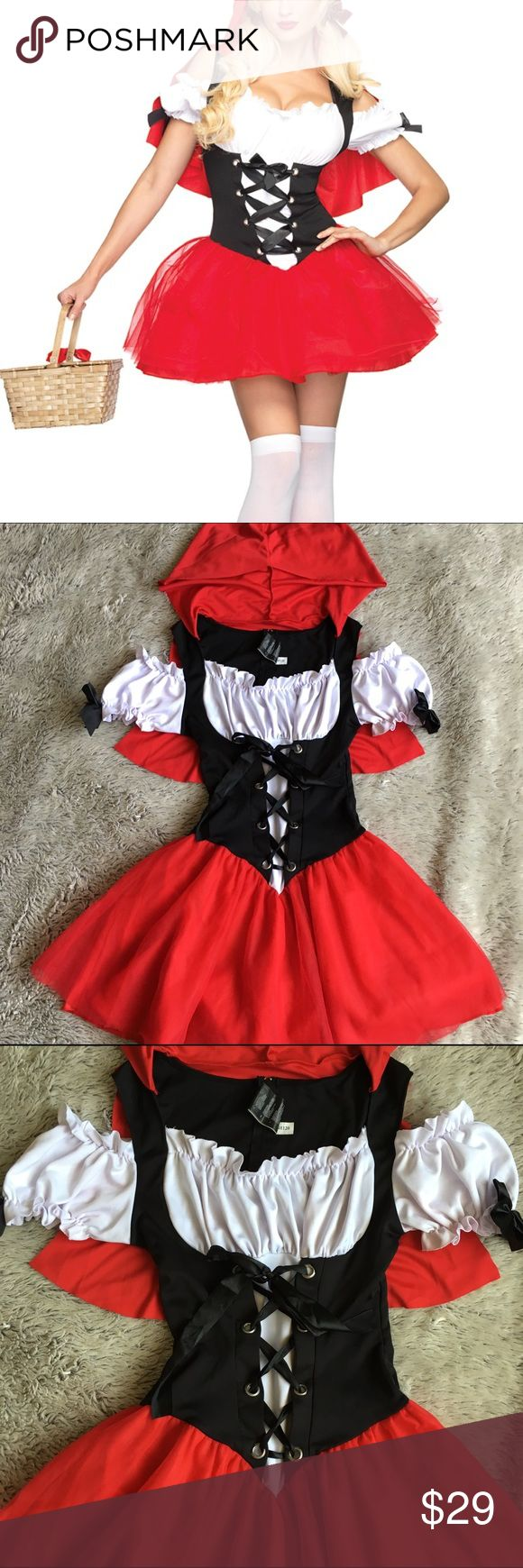 Sexy Little Red Riding Hood Costume-EUC Black peasant dress has corset-like top w/ black ribbon lacing up chest.  Black shoulder straps are attached to a red hood. Has back zip closure. Elastic lines neckline, shoulders, & sleeve cuffs Attached red tutu skirt is topped w/ two sheer red mesh overskirts.  Worn once and washed.  In excellent condition. Comes in the original packaging. Other