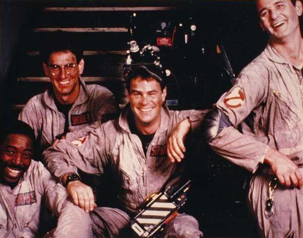 Ernie Hudson, Harold Ramis, Dan Aykroyd and Bill Murray on the set of Ghostbusters.
