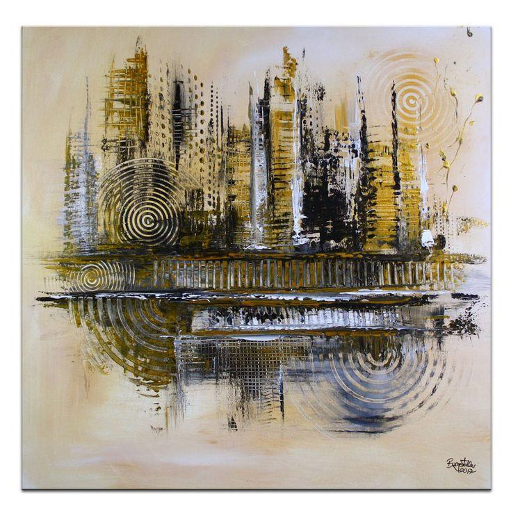 BURGSTALLER #Wandbild #Leinwandbild #abstrakteKunst Bild #Gemälde Gold City 80x80