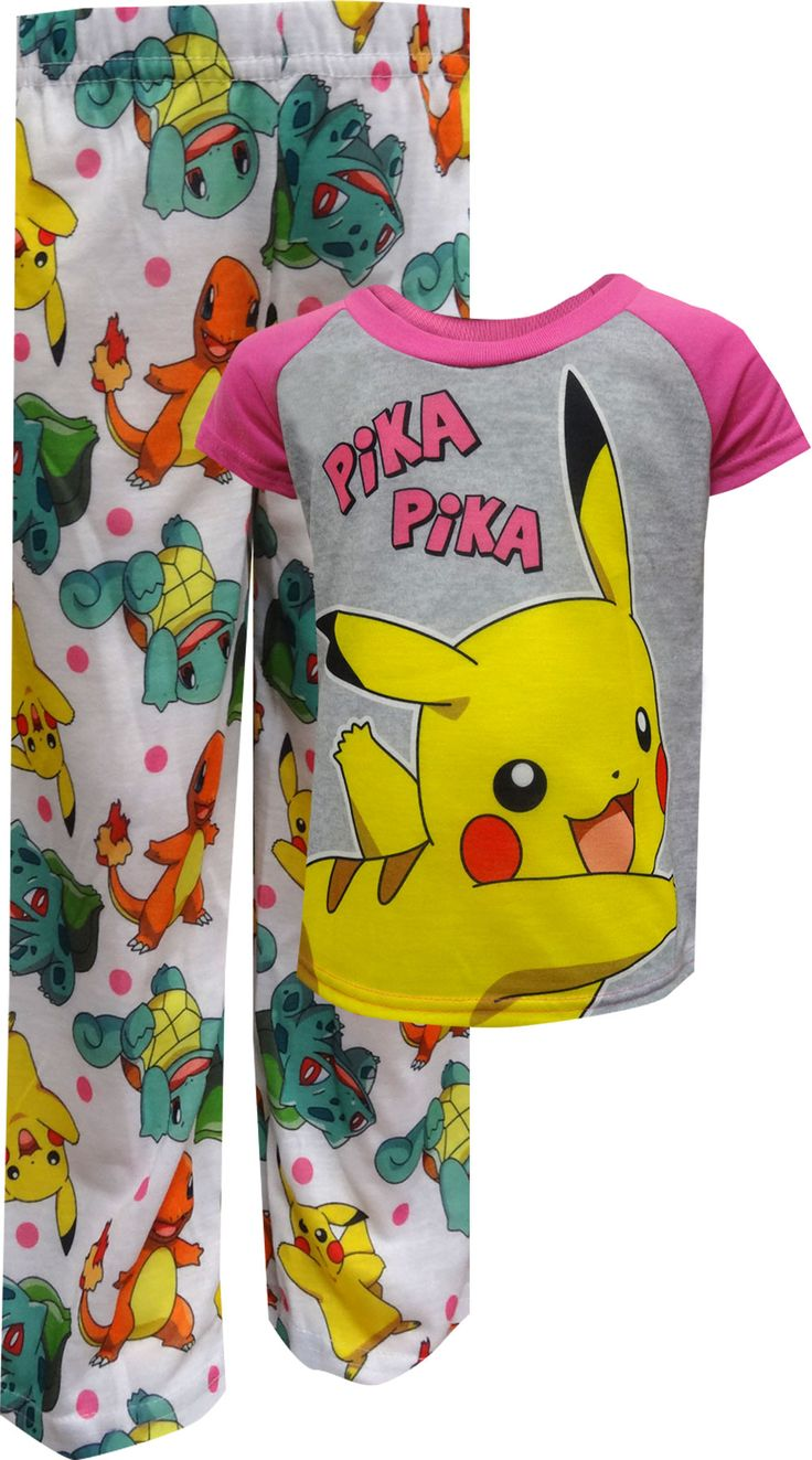 Perfect for every Pokemon fan, these flame resistant pajamas for girls are sure to become her new favorites. Pajamas feature favorite character Pikachu on the top with Pikachu, Charmander and Bulbasaur on the bottom. Machine wash, easy care.