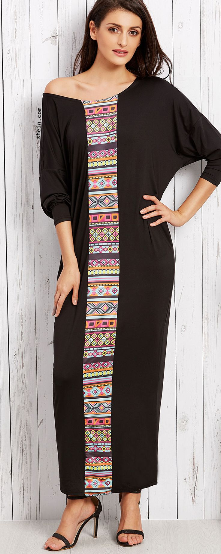 Black Tribal Print Drop Shoulder Long Sleeve Loose Maxi Dress