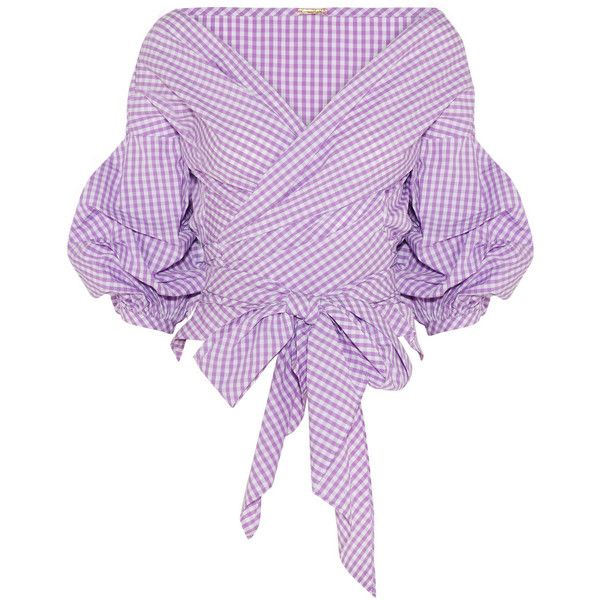 Rosemary gingham cotton-poplin wrap top, Women's, Size: M ($605) ❤ liked on Polyvore featuring tops, pink, tie top, pink gingham top, purple top, lavender top and gingham top