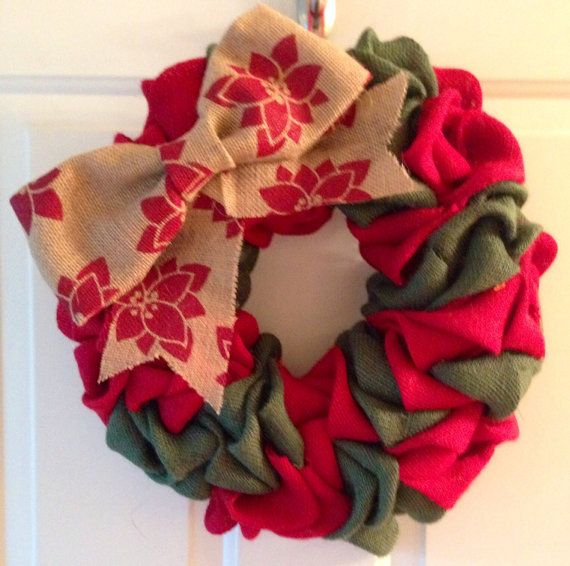 Red and Green Burlap Christmas Wreath with Poinsettia Burlap Bow