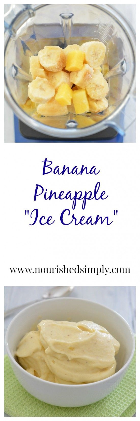 "Do want a healthier alternative to ice cream? Try 100% whole fruit ""ice cream"". This banana pineapple ice cream will satisfy your sweet tooth, but make you feel good inside!"