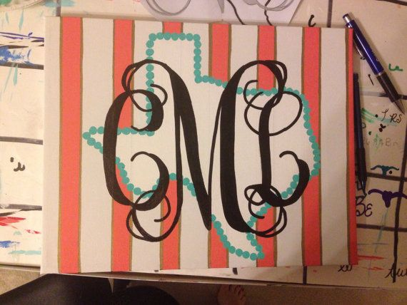 CHECK OUT MY ETSY SHOP!!! I can do custom orders and any size canvas! Personalized Monogram Canvas Painting by Sont67 on Etsy, $20.00
