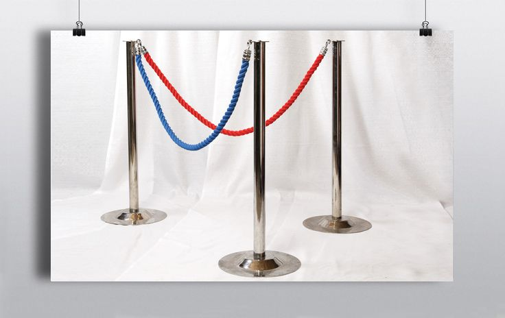 Polished chrome metal posts are hooked together with high quality braided rope to create an efficient barrier system. http://www.prophouse.ie/portfolio/pillars-rope/