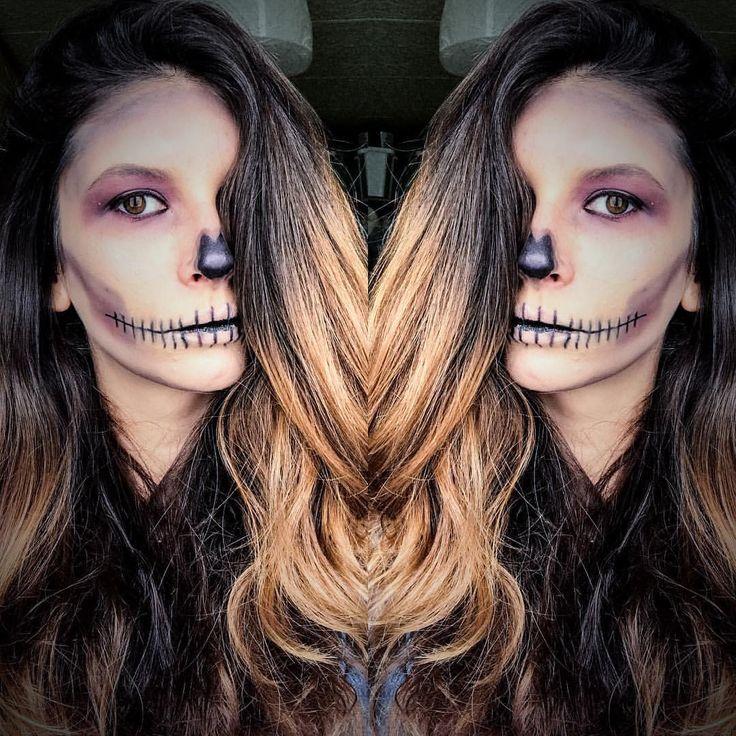 💀I'm dead 💀 Premier test de makeup Halloween de ma vie ✌🏼 pas sûr d'arriver à la refaire pour le jour J mais bon 👻 J'attends votre avis 😘   #makeuphalloween #halloweenmakeup #beautyblogger #halloween