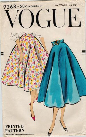 Vogue 9268 50s Bias Circle SKIRT