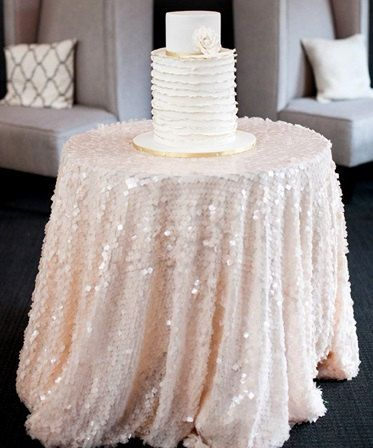 PEACH SEQUIN TABLECLOTH Select Your Size High End By MyModernHome, $110.00