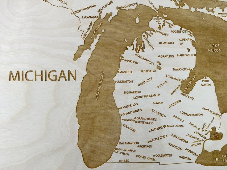 Michigan engraved wood map by Etched Atlas.