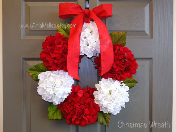 Christmas wreath hydrangea wreaths Holidays front by aniamelisa