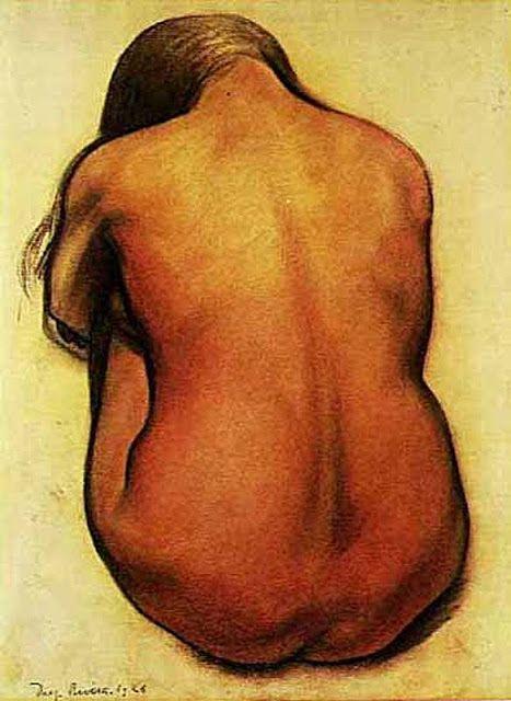 Diego Rivera - Espalda Desnuda de una Mujer Sentada 1926.  Tiza roja y carbón vegetal.  Museo de Arte Moderno de San Francisco. California. USA.