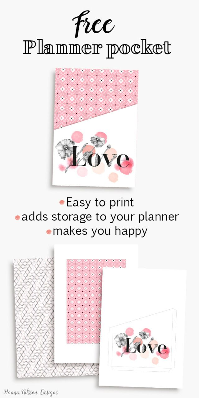 Such a pretty and FREE planner pocket!!! … | Pinteres…