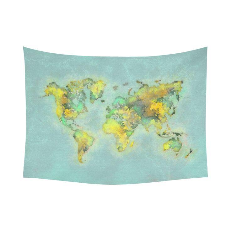 """world map green #map #worldmap Cotton Linen Wall Tapestry 80""""x 60"""""""