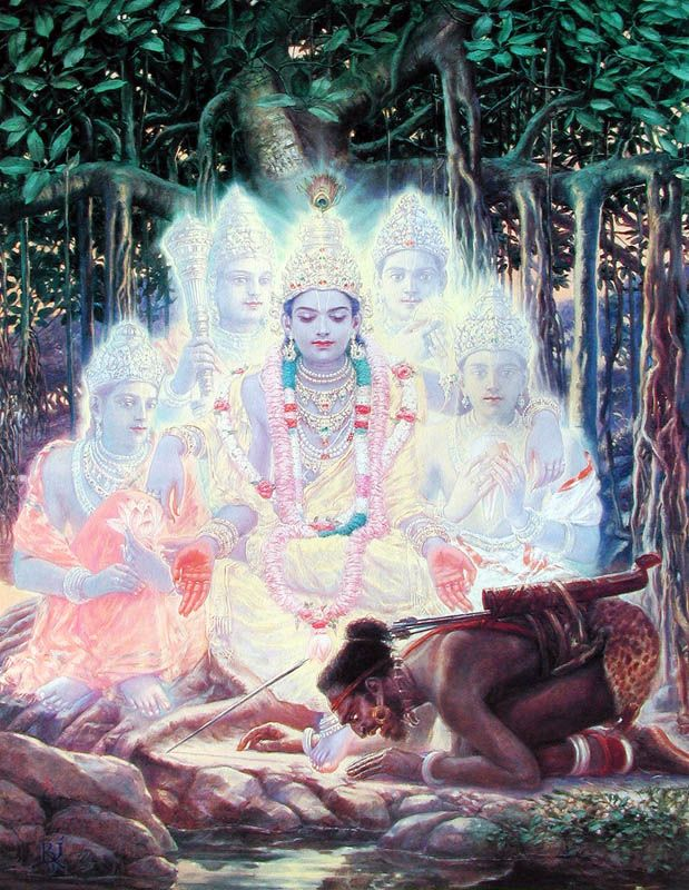 Lord Krsna with His personified weapons