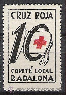 2203-SELLO GUERRA CIVIL BADALONA CRUZ ROJA VIÑETA POLITICA REPUBLICA SELLO BENEFICO (Sellos - España - Guerra Civil - Locales - Nuevos)