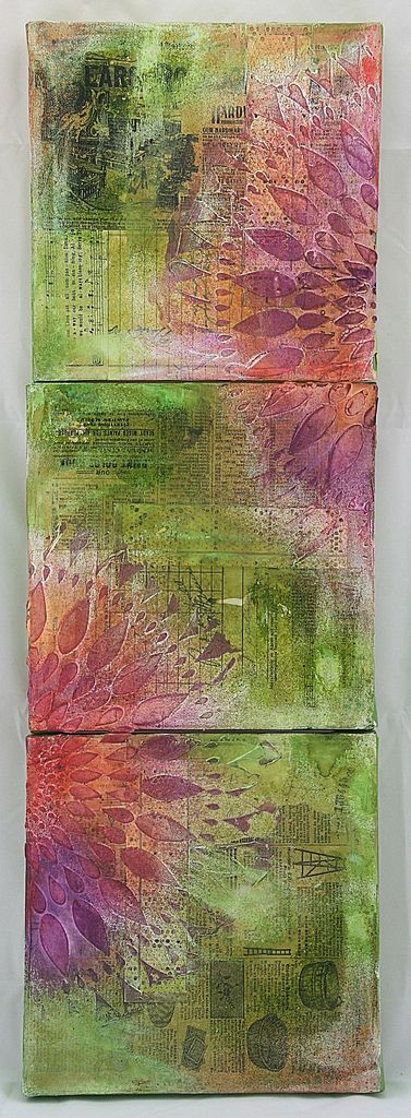 Mixed media collage with vintage papers, molding paste and Ranger dye sprays.