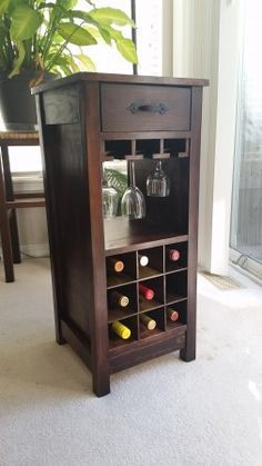 Mini Wine Bar | Do It Yourself Home Projects from Ana White |  This is amazing and so surprisingly easy!!