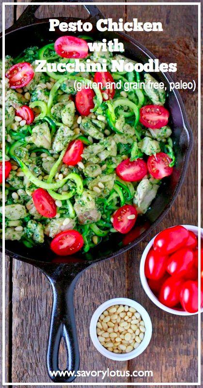 Pesto Chicken with Zucchini Noodles (gluten and grain free, paleo) - savorylotus.com #pesto #chicken #recipes #zucchini #noodles #paleo