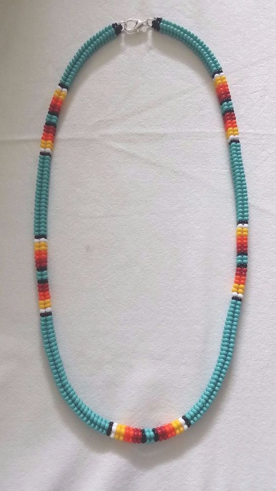 Handmade Non Native American Beaded Necklace Turquoise