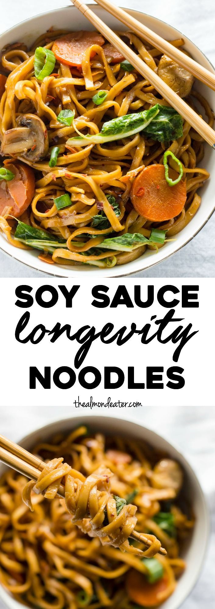 Soy Sauce Longevity Noodles | ONE PAN noodles marinated in soy sauce and ready in just 30 minutes!