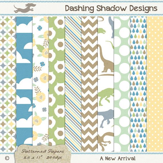 A4 A New Arrival Digital Printable Scrapbook Craft Paper | Patterns: Geometric patterns, clouds, florals, owls, stripes, chevron, dinosaurs, polka dots, rain drops. This instant download digital paper pack includes ten A4 papers with ten cute designs and six sweet colours which are exclusive to my A4 collection - Cucumber, Silver, Buttercup, Harbour, Leaf and Sahara. All sheets have a very subtle and smooth texture, designed to look like paper you'd find in any good quality stationery store.