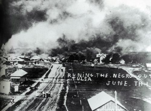 """Tulsa Race Riot of 1921 - Two days of riot precipitated by the Ku Klux Klan to run the wealthiest Black district in the US out of town. The National Guard was brought in on June 1 at noon arresting Blacks and bombs were dropped by 6 aircraft leveling 600 businesses, killing many people. The KKK watched the city burning from a distance. Documents surrounding the incident are hard to find. Military force was used with racial motivation to exterminate. Search for """"Black Wallstreet"""""""
