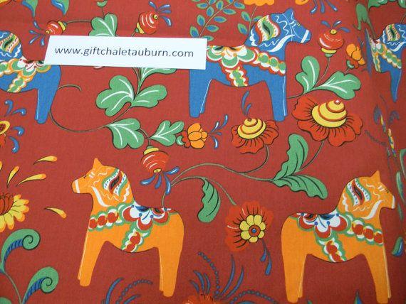 Scandinavian Swedish Dala Horses & Flowers on by GiftChaletAuburn