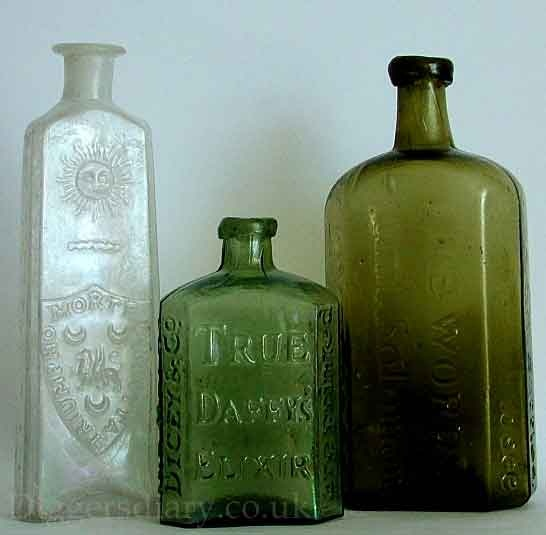 patent medidine bottle | trio of English patent medicine bottles from the first half of the ...