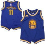 NBA Golden State Warriors Klay Thompson #11 Infant Onesie Jersey, Blue  https://allstarsportsfan.com/product/nba-golden-state-warriors-klay-thompson-11-infant-onesie-jersey-blue/  100% Polyester Embroidered NBA & adidas logos Two snap closure at shoulder four at crotch