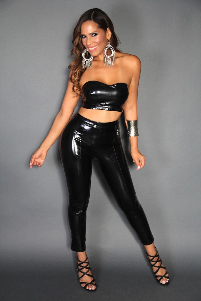 HOTNESS! Faux Leather Cropped Top And High Waisted Pants
