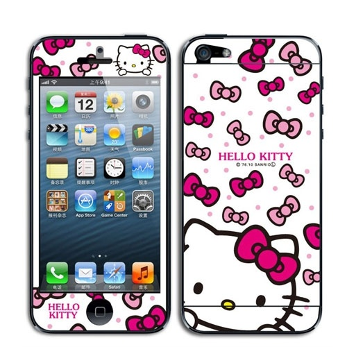 Hello kitty bowknot screen protector skin sticker for iphone 4s 4 front
