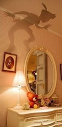Cut out Peter Pan's shadow and place it over a lamp shade. | 21 DIY Ways To Make Your Child's Bedroom Magical