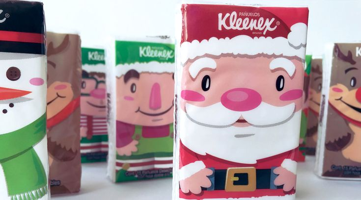 Santa's little helpers are here to the rescue this holiday season with  Kleenex to soothe all those stuffy noses. Designed by Design Bureau, boxed  tissue transforms into a fireplace with all the bells and whistles.  Portable packs are personified with elves, reindeer, and St. Nick himself.