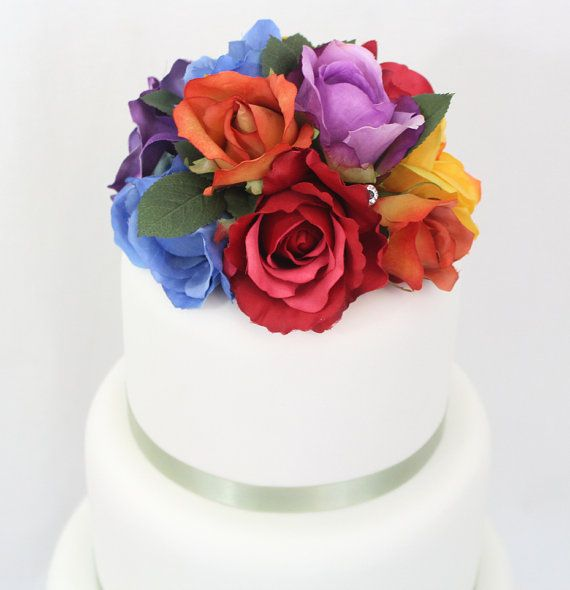 Wedding Cake Topper Rainbow Rose Silk Floral Gay Pride LGBT By ItTopsTheCake