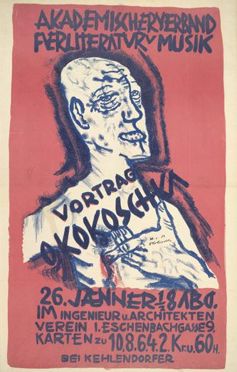"""Self-Portrait, Hand on Chest  (1911–12, published 1912)  Playing on his reputation as Vienna's """"wildest beast,"""" Kokoschka presents himself with the shaved head of a criminal and gestures to a wound on his right side in a blasphemous allusion to Christ. This image, which Kokoschka first made in 1910 to advertise the Berlin periodical Der Sturm, here announces a lecture by Kokoschka at a Viennese cultural institution in January 1912."""