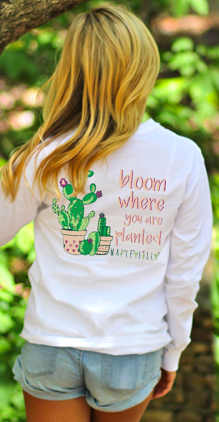 """NEW Monogrammed Cactus T-Shirt! It reads """"Bloom Where You Are Planted"""" and is inspired by the latest cactus trend! Get yours monogrammed now at Marleylilly.com!"""