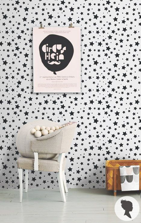 Star Pattern Peel and Stick Wallpaper D217 by Livettes on Etsy