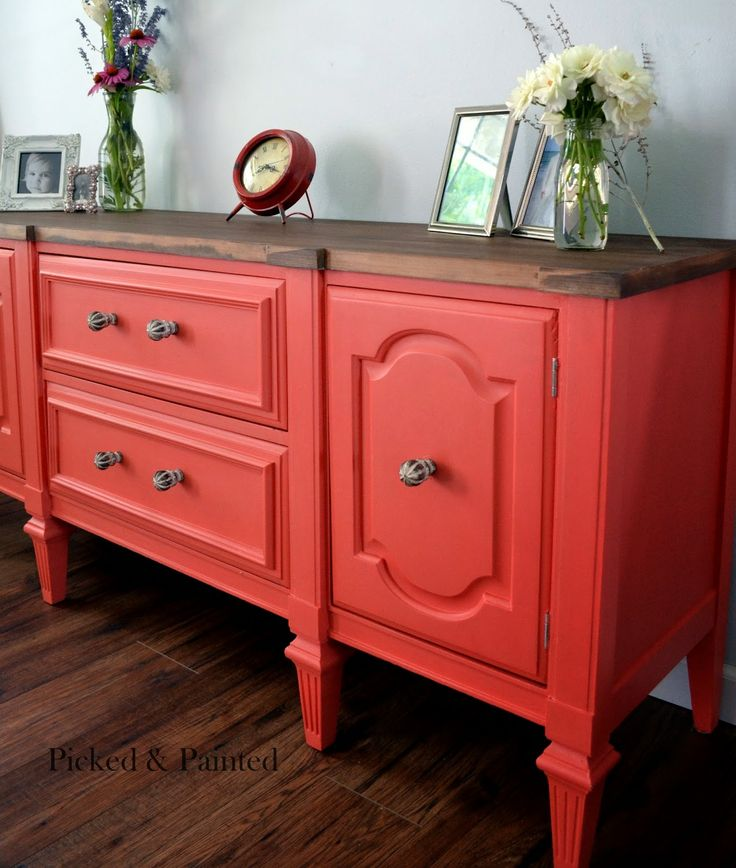 General Finishes Milk Paint in a mix of 1 Part Coral Crush and 1 Part Persimmon to get this rich color.  (GF is premixed and it is not a powder. It does not flake and get chippy. It is the consistency of paint. It dries hard and sticks to almost anything).