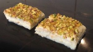 Aish El Saraya recipe - a Lebanese traditional bread & butter pudding. A light, eggless, bread & custard based rose pistachio treat.