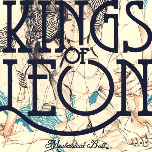 Album cover for 'Kings of Leon' the large type over the top of the faded line drawings in the background make the artists name stand out, the contrast of the bold black text on top of the light back ground image makes you need to look more to work out what the image is to understand the design.