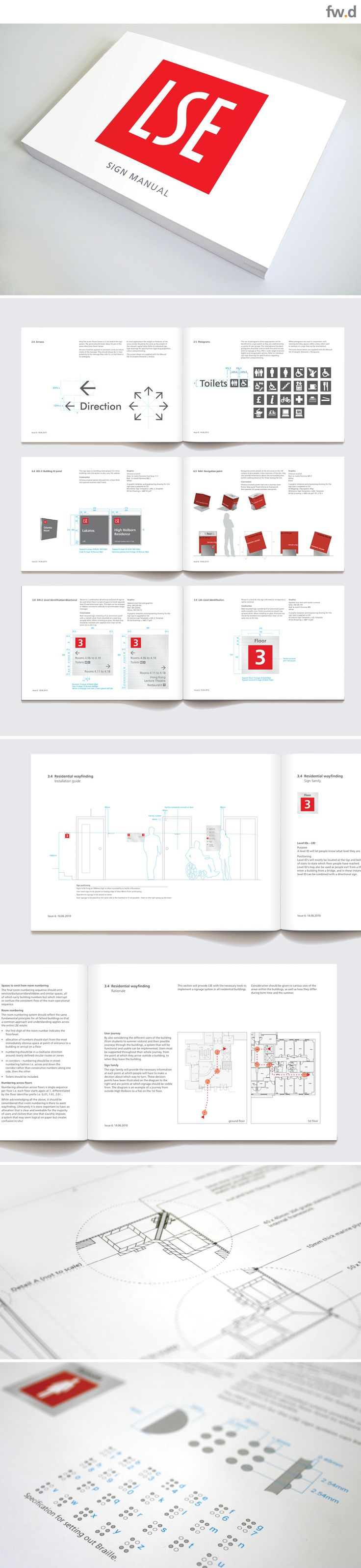 Design guidelines for LSE campus signage & wayfinding by fwdesign. www.fwdesign.com #guidelines #layout #manufacture