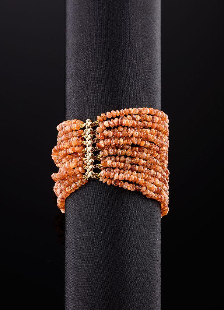 Sunstone Multi Strand 14K Bracelet