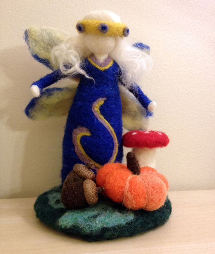 Needle felted fairy, about 7″ high.