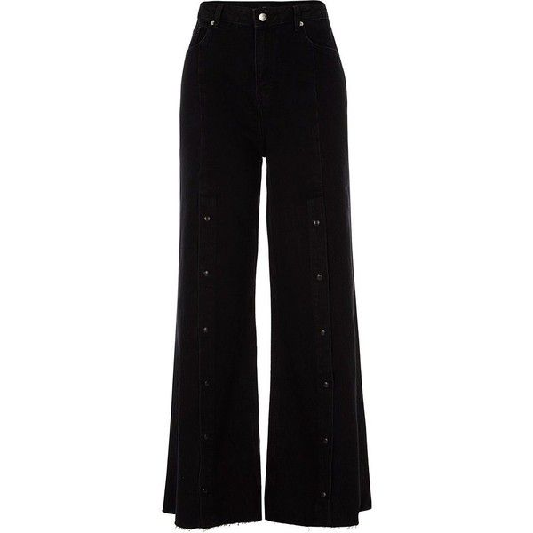 River Island Black popper front split wide leg jeans ($100) ❤ liked on Polyvore featuring jeans, pants, bottoms, trousers, black, bootcut & flared jeans, women, bootcut denim jeans, wide leg jeans and zip jeans