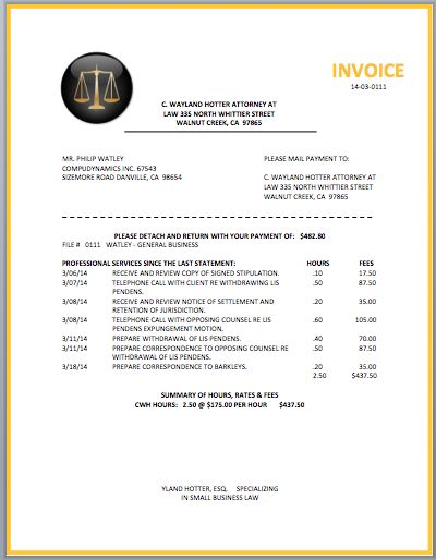 Attorney Billing Template - Plan