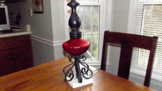 Vintage Mediterranean Lamp Red Glass Base by sistersvintageattic