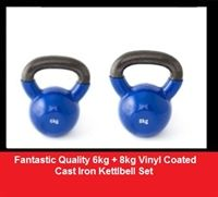 I buy my kettlebells from IQI - www.iqihub.com. Recently bought vinyl coated cast iron 6kg + 8kg kettlebell set for £26.99. I challenge you to find cheaper decent kettlebells anywhere else! They basic bells, but decent quality & tough enough for regular use. These different weight sets are handy too for a bit of versatility in your workout, or you're not sure how much weight you can handle. Get shopping.