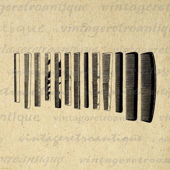 Set of Antique Combs Digital Image Download Hair Salon Barber ...